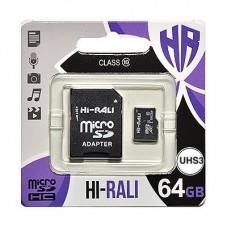Портативні носії інформації microSDHC 64GB HI-RALI Class 10 UHS-I + SD-adapter (HI-64GBSDU3CL10-01)