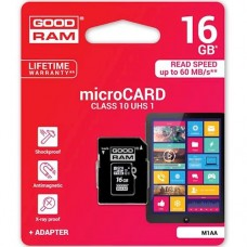 Flash карта Micro SDHC microSDHC 16GB Goodram Class 10 UHS-I + SD-adapter (M1AA-0160R11)